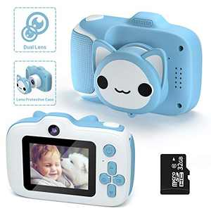 Kids Camera,HONEYWHALE Kid Digital Video Selfie Cameras 2.0 Inch IPS Screen Child Toddler Camera with 32GB SD Card,Best Birthday Toys Gifts for Boys Girls 3-12 Year Old (Blue)