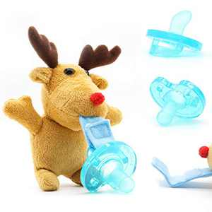 AshelyZ Pacifier Holder and 3 Detachable Baby Pacifiers, Infant Pacifiers - BPA Free - 0m+, Plush Toy Adapts to Name Brand Pacifiers, Suitable for All Ages, Elk Dol