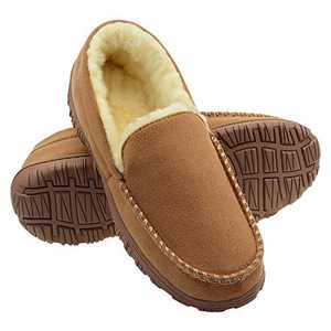 LseLom Mens Moccasin House Slippers Memory Foam Fuzzy Warm Plush Lined Bedroom Slippers Indoor/Outdoor Beige Size 13