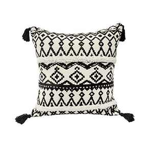 U'Artlines Throw Pillow Cover Cotton Boho Woven Tufted Pillowcases with Tassels Soft Warm Farmhouse Decorative for Sofa Couch Bedroom Office Car (18x18 inch, Black-White)