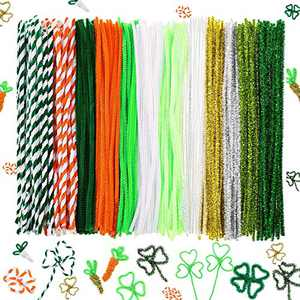 360 Pieces Pipe Cleaners Chenille Stem Green Pipe Cleaners Craft Chenille Stems for St. Patrick's Day Valentine's Day DIY Craft Art Supplies, Crafts Decorations, 12 Colors (St. Patrick's Day Colors)
