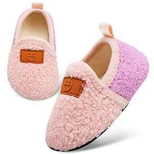 L-RUN Girls Slipper Bedroom Slippers for Toddler Boys Pink 8-8.8 Toddler=EU26-27