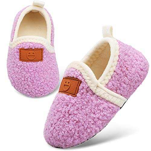L-RUN Girls House Slippers Baby First Walking Shoes Purple 5-5.5 Infant=EU22-23