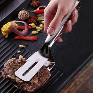 ANMAIKER Double Sided Spatula, Steak Tongs, 304 Stainless Steel Spatula Tongs, Bbq Tongs, Flipping Easy Tongs, Clever Tongs 2-in-1 Kitchen Spatula and Tongs