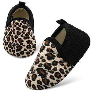 L-RUN Kids Fuzzy Home Slippers Soft House Slippers Leopard 5-5.5 Infant=EU22-23