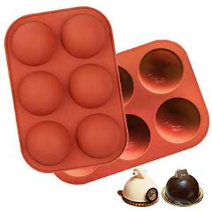 6 Holes Semi Sphere Silicone Mold, Cake, Jelly, Pudding, Dome Mousse, Handmade Soap, Silicone Molds for Chocolate Bombs 2 Pack (Brown)