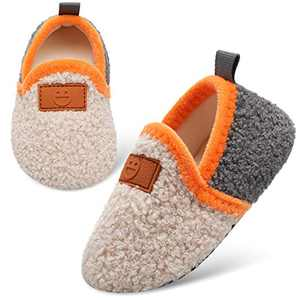 L-RUN Toddler Boys Slippers with Rubber Soles Beige 11-11.5 Little Kid=EU30-31
