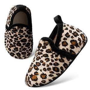 L-RUN Kids House Slippers Shoes for Little Girls Leopard 6-7 Toddler=EU24-25