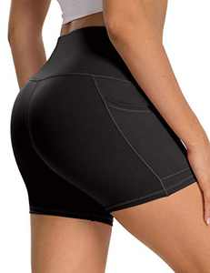 """5"""" High Waist Workout Biker Yoga Shorts Athletic Running Tummy Control Short Pants with Side Pockets for Women Black-M"""