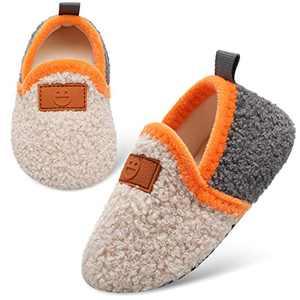 L-RUN Bedroom Slippers for Toddler Girls Home Slippers Beige 3-4 Infant=EU20-21