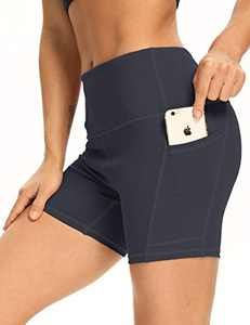 "5"" High Waist Workout Biker Yoga Shorts Athletic Running Tummy Control Short Pants with Side Pockets for Women DeepGrey-XXL"