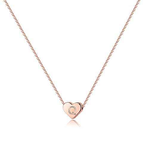 Turandoss Q Initial Necklaces for Teen Girls, 14K Rose Gold Plated Heart Engraved Initial Necklace for Women Teens Girls Kids Monogram Necklace Initial Necklace Jewelry Gifts for Teen Girls