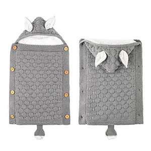 Swaddle Blanket for Baby, Soft Warm Blanket Swaddle Sleeping Bag Sleepsack Stroller Grey