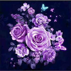 Flower Diamond Painting Kits for Adults, 5D Crystal Diamonds Art with Accessories Tools, Purple Rose Picture DIY Arts Dots Craft for Home Décor, Ideal Gift for Friends or Self Painting