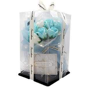 MISBEST Handmade Artificial Rose Flowers Bouquet Gift Box 11.8 inches Enchanted Rose Flower 11 Head Forever Rose Perfect for Valentine's Day,Mothers Day,Anniversary's,Birthday (Blue)