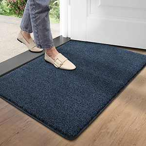 "DEXI Doormat Entry Door Mat Indoor Rug Non Slip Soft Mats for Entrance Low Profile for Front Mats Inside Entryway 19.5""x31.5"",Black Mixed Blue"