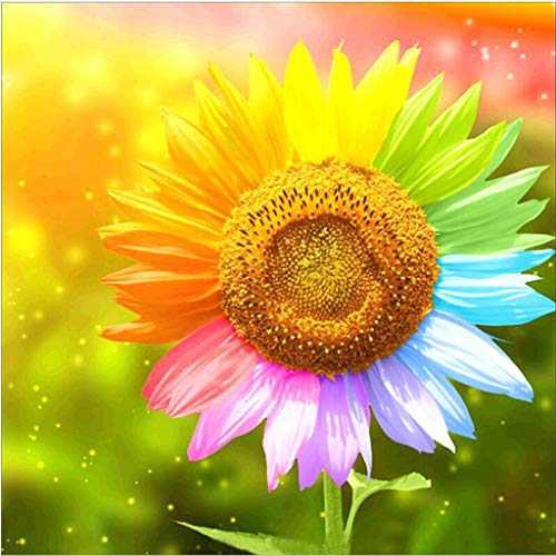 Flower Diamond Painting Kits for Adults, 5D Crystal Diamonds Art with Accessories Tools, Colorful Sunflower Picture DIY Arts Dots Craft for Home Décor, Ideal Gift for Friends or Self Painting