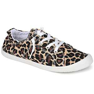 Womens Canvas Sneakers Casual Shoes Low Tops Slip Ons Classic Comfortable Tennis Walking Shoes Leopard 10