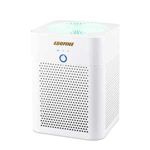 EGOFINE Air Purifier for Home Bedroom, Air Cleaner for Smoke, Pet Dander, Dust Remover , Air Quality Pollution Monitor for Home and Office Desktop, White