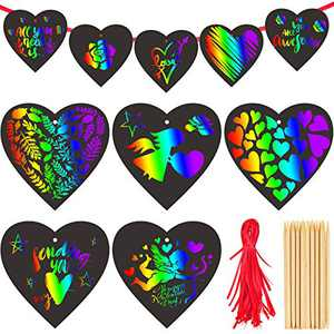 Zonon 100 Pieces Valentine's Day Crafts Scratch Paper Ornaments Heart Shape Rainbow Scratch Art with 10 Wooden Styluses and 100 Ribbons for Valentine DIY Art Decorations