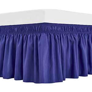 ARANA Bed Skirt Blue King Size Wrap-Around Dust Ruffles, 15 inch Drop Elastic Easy-Install Bedskirt Wrinkle/Fade Resistance,