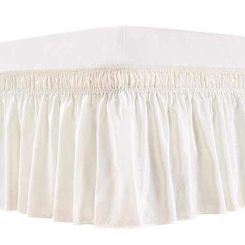 ARANA Bed Skirt Ivory Queen Size Wrap-Around Dust Ruffles, 15 inch Drop Elastic Easy-Install Bedskirt Wrinkle/Fade Resistance, Machine Washable