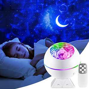 Star Projector,Led Galaxy Lamp for Bedroom,Star Night Light for Kids or Adults,Light up Ceiling with Ocean Wave,Aurora & Colorful Cloud,Starlight with Voice Control, Game Room Decor,Remote,Timer