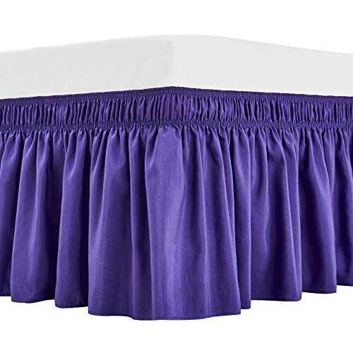 ARANA Bed Skirt Blue Queen Size Wrap-Around Dust Ruffles, 15 inch Drop Elastic Easy-Install Bedskirt Wrinkle/Fade Resistance, Machine Washable