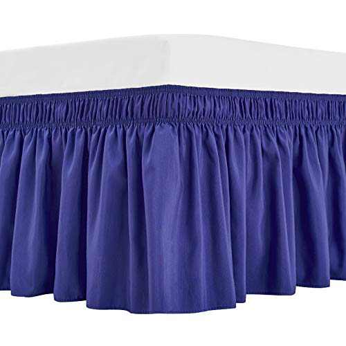 ARANA Bed Skirt Blue King Size Wrap-Around Dust Ruffles, 18 inch Drop Elastic Easy-Install Bedskirt Wrinkle/Fade Resistance, Machine Washable