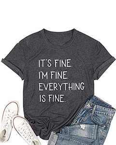 Sofia's Choice Women's Letter Print T Shirt Round Neck Basic Short Sleeve Tees Grey S