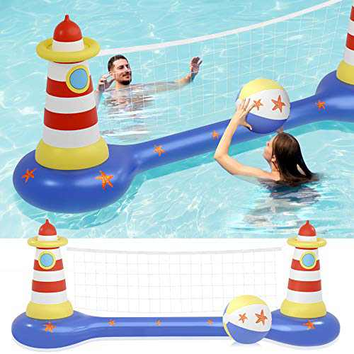 MeiGuiSha Swimming Pool Volleyball Set- Water Game 2021 Edition-Inflatable Volleyball Net with Ball Included- Perfect for Competitive Water Play