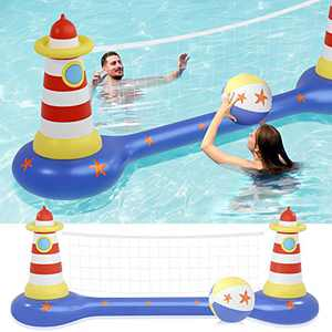 MeiGuiSha Pool Games, Pool Toys, Pool Accessories, Inflatable Volleyball Set- Water Game 2021 Edition-Inflatable Volleyball Net with Ball Included- Ultimate Summer Toy 118x39x30 inch