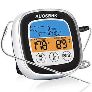 Instant Read Meat Thermometer ,Touchscreen Color LCD Display Food Thermometer,Waterproof Probe with Quick Temperature Measurement,for Kitchen,Oven,Food Cooking,Grill,BBQ,Smoker,Candy,Oil Deep Frying