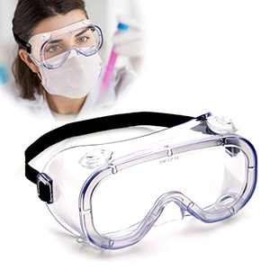 Anti Fog Safety Goggles, CE EN 166 Certified, Fits Over Eyeglasses, Eye Glasses Goggles Protection, Dust Chemical Splash Proof, Anti Impact Unisex Wide Vision Clear Protective Goggles for Lab ( 1 PC )