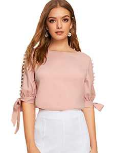 SOLY HUX Women's Pearl Beaded Knot Cuff Split Sleeve Top Blouse Pink S