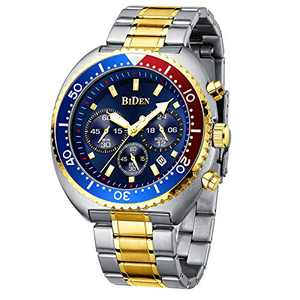 Mens Watches Fashion Business Chronograph Analogue Waterproof Quartz Watch Casual Stainless Steel Luminous Large Date Watches for Men Gold Blue