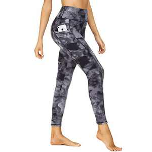 HIGHDAYS Printed Yoga Pants for Women with Pockets - High Waisted Tummy Control Women's Leggings for Workout Running Athletic(Medium, Black Graffiti)