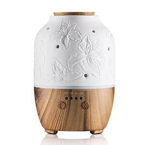 Essential Oil Diffuser, White Ceramic Diffuser for Essential Oils Aromatherapy Diffuser Auto Off Function 7 Colors Lights 2 Mist Mode LED Lights Cool Mist Home Office Humidifier (Lily)