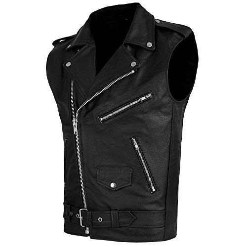 Women Leather Vest Motorcycle Biker Classic Faux Cowhide Carry Vintage Vest with Adjustable Belt (Black, X-Large)