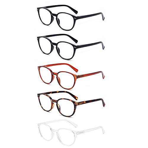 OuShiun 5 Pack Reading Glasses Blue Light Blocking with Spring Hinge Computer Gaming Readers for Women Men Anti Glare UV Ray (Round Mix Color, 0.0)