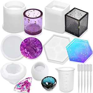 Silicone Resin Molds 12Pcs Resin Casting Molds Including Cylinder, Cuboid, Diamond, Flower Pot, Hexagon, Round with 1 Measuring Cup & 5 Plastic Transfer Pipettes for Resin Epoxy, Candle Wax, Soap etc