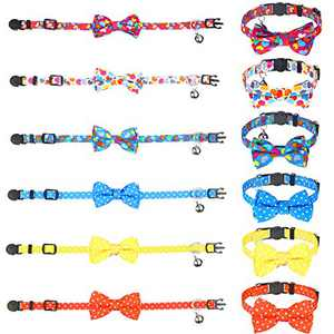 Weewooday 6 Pieces Cat Collar with Cute Bowtie and Bell Breakaway Detachable Adjustable Safety Buckle Collar for Cats Kitty Kitten (Assorted Colors, Heart and Dot Pattern)