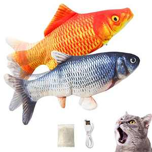 Growom Electric Fish Cat Toy Flippity Cat Toy Interactive Pets Pillow Chew Bite Kick Supplies Catnip Toys Moving Cat Kicker Fish Toy (Salmon&red Salmon)