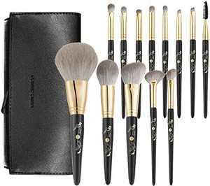 Rownyeon Makeup Brush Set 13pcs Premium Cosmetic Makeup Brushes for Foundation Blending Blush Concealer Eye Shadow Synthetic Fiber Bristles, Travel Makeup bag Included (BLACK)
