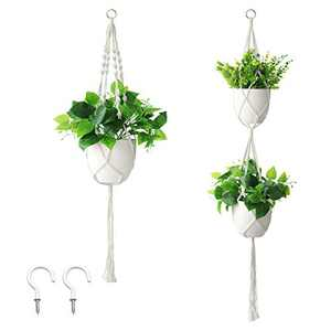 HOSCAPE 2 Pack Macrame Plant Hanger with 2 Hooks Hanging Plant Holder Indoor Outdoor Hanging Planters Set Flower Pots Stand with 4 Legs for Decorations