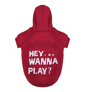 Dog Hoodie Pet Sweatshirt Clothes Doggie Sweater with Hat [Hey Wanna Play?] Red S