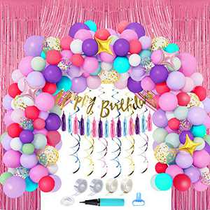 ArcHome Balloon Arch Kit For Unicorn Birthday Decorations For Girls, Unicorn Balloons With Birthday Banner /Tassels/Backdrop/Hanging Swirls And Balloon Garland Kit Tools Include Balloons Hand Bump/Strip/Tying Tool/Glue Points /Dots / Ribbon/Hooks