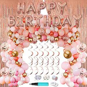 ArcHome 144 Pcs Birthday Decorations/Balloon Arch kit with Rose Gold Balloons /Birthday Banner/6.6 Ft Metallic Foil Curtains/Hanging Swirl And Balloon Garland kit Accessories For Birthday Baby Shower Wedding Party Decorations Supplies