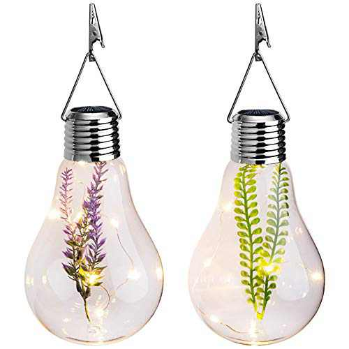 Hanging Solar Lights Outdoor Glass Bulbs Decorative Garden Lights Waterproof Solar Lanterns for Yard, Patio, Tree or Holiday Decoration (2 Pack)