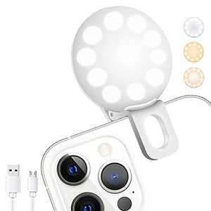 Mini Ring Light, Upgraded Sansent Small Clip On Ring Light, Portable LED Light for Phone, 3 Color Lighting Modes and Adjustable Brightness Selfie Light, Tool for Tiktok Stuff, Photos, Videos